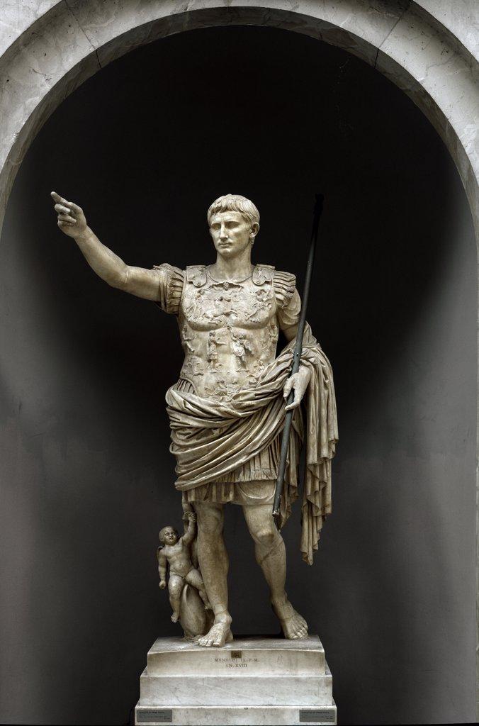 Stock Photo: 1899-42957 Roman Art: Augustus of Prima Porta. Marble, 204 cm, 1st century AD. Museo Pio Clementino, Musei Vaticani, Rome .