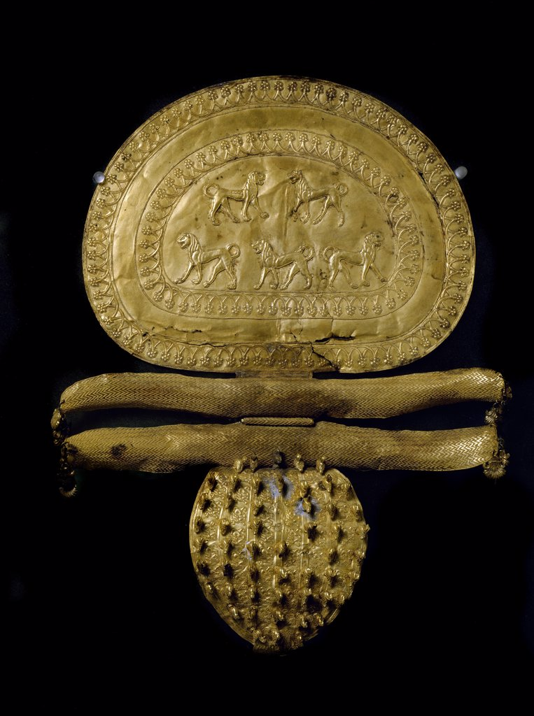 Etruscan Art: Gold Fibula, from Cerveteri. 650 BC. Museo Gregoriano Etrusco, Musei Vaticani, Italy .  : Stock Photo