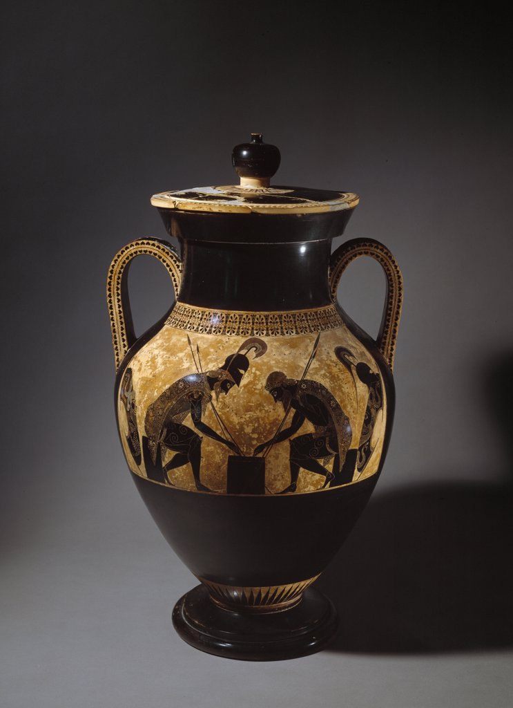 Etruscan Art: Achilles and Ajax playing a Dice Game. Attic black-figure amphora by Exekias. H61 cm, 6th century BC. Museo Gregoriano Etrusco, Musei Vaticani, Italy .  : Stock Photo