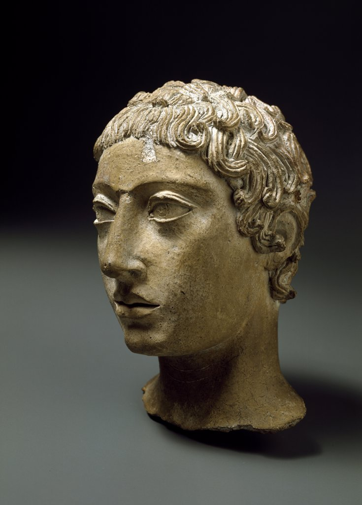 Etruscan Art: Malavolta, Head of a Youth from Veii. Terracotta, H18 cm, 450-400 BC. Museo Nazionale di Villa Giulia, Rome, Italy .  : Stock Photo