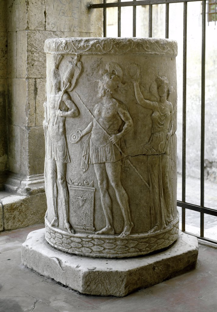 Roman Art: Scene of sacrifice. Marble relief on a column base. 40-30 BC. Civita Castellana Cathedral, Italy .  : Stock Photo