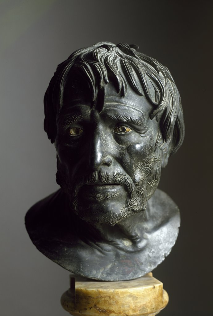 Greek Art: Pseudo-Seneca. Roman copy after a Greek original. From the Villa of the Papyri, Herculaneum. Bronze, H33 cm. Museo Archeologico Nazionale, Naples, Italy .  : Stock Photo