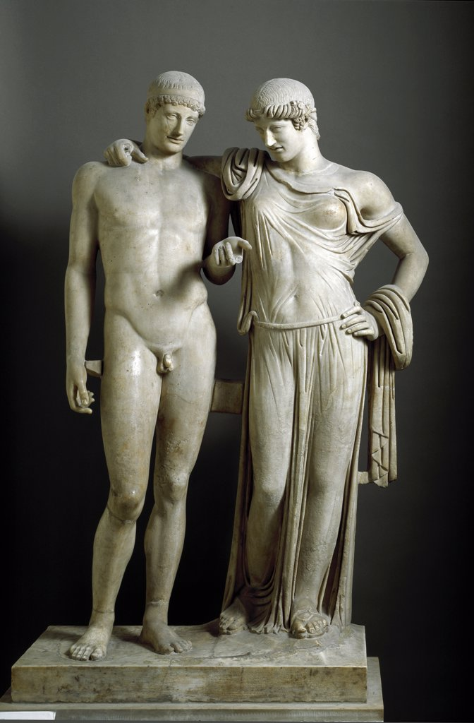 Roman Art: Orestes and Electra. From Pozzuoli. Marble, H160 cm, 1st century AD. Museo Archeologico Nazionale, Naples, Italy .  : Stock Photo