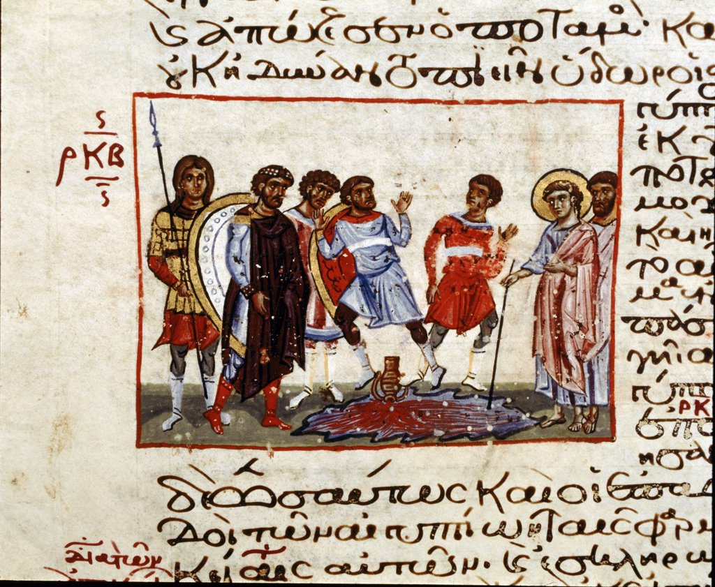 Stock Photo: 1899-43046 Plagues of Egypt, Nile turning to blood. Illumination from the Seraglio Octateuch. 12th century. Topkapi Sarayi Museum Library, Istanbul, Turkey .
