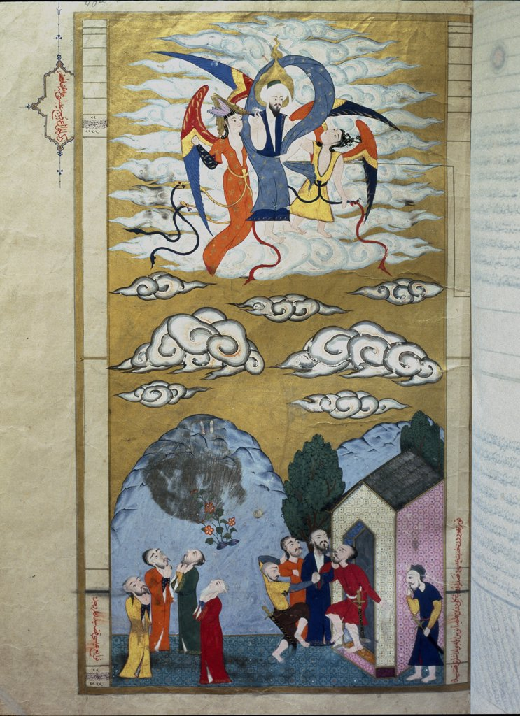 Stock Photo: 1899-43049 Ascension of Jesus. Miniature by Ottoman Historiographer Seyyid Loqman Ashuri, from the Zubdat-al Tawarikh, dedicated to Sultan Murad III in 1583. 16th century. Museum of Turkish and Islamic Arts, Istanbul, Turkey.