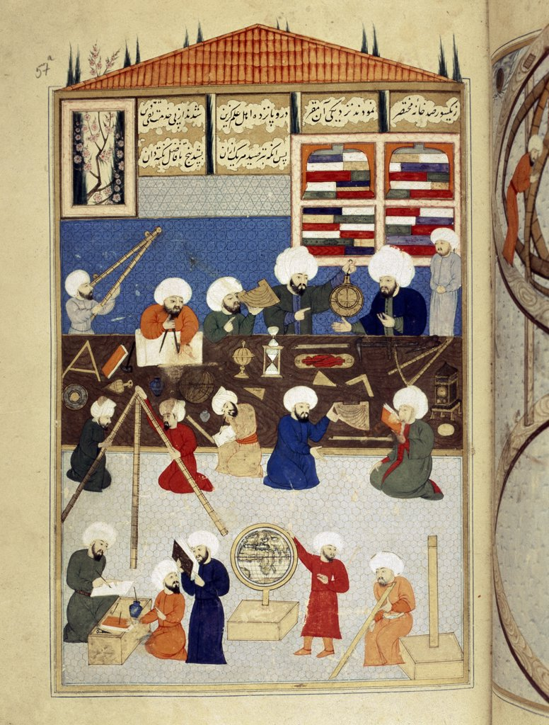 Stock Photo: 1899-43057 Takyuddin and other Astronomers at the Galata Observatory founded in 1557 by Sultan Suleyman. FY 1404 Miniature from the Sehinsahname of Murad III, c.1581. Turkish School (16th century). Istanbul University Library, Istanbul, Turkey .