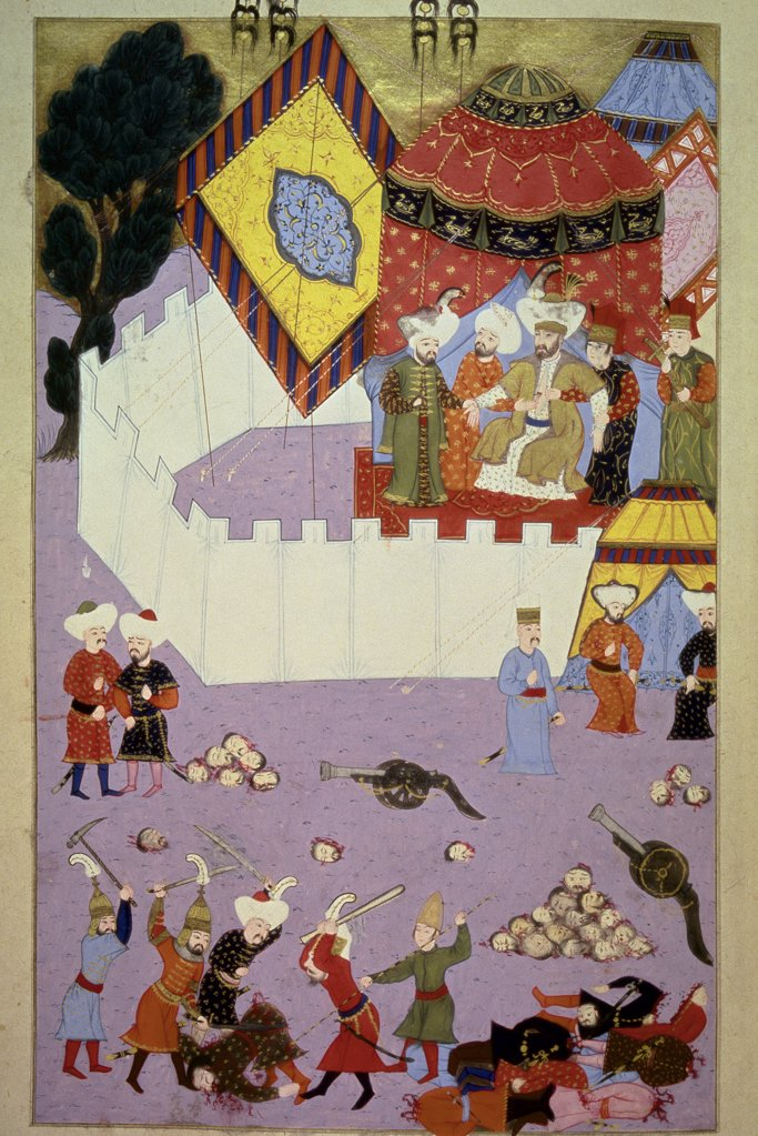 The assassination of Murad I (1360-1389), third Sultan of the Ottoman Empire. Miniature from Hunername, by Lokman (1584). Istanbul, Topkapi Sarayi Museum Library, Turkey.  : Stock Photo