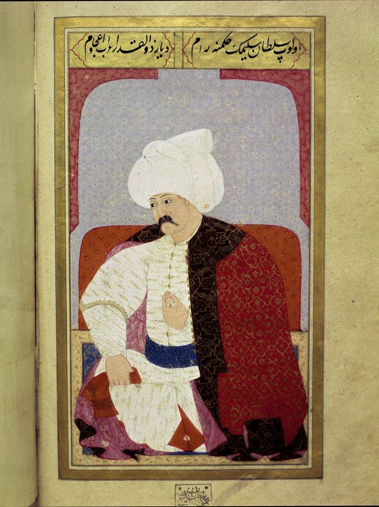 Portrait of Selim I (1512_1520), 9th Sultan of the Ottoman Empire. Miniature from Kiyafet-i Insaniye Fi Semail-i Osmaniye, by Lokman (1579). Istanbul University Library, Istanbul, Turkey.  : Stock Photo