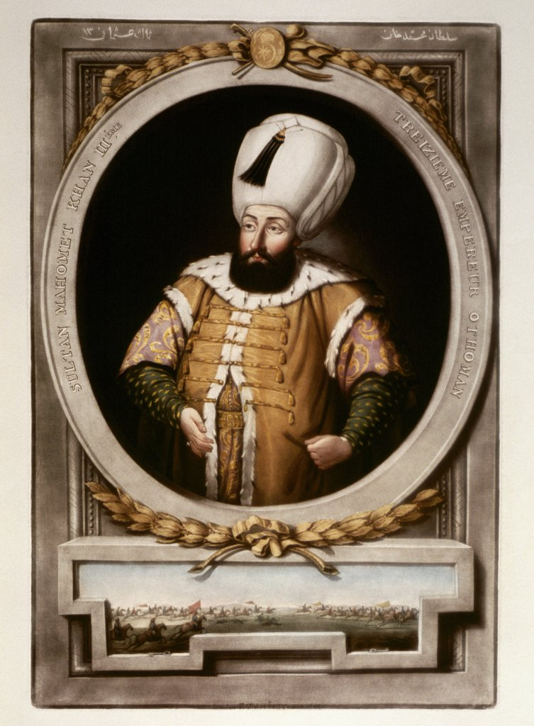 Stock Photo: 1899-43139 Portrait of Mehmet III (1595_1603), 13th Sultan of the Ottoman Empire.Miniature. Topkapi Sarayi Museum Library, Istanbul, Turkey .