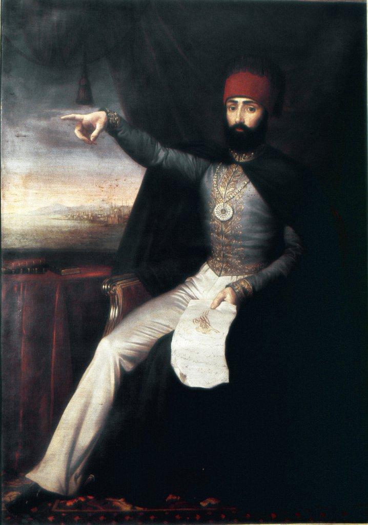 Stock Photo: 1899-43148 Portrait of Sultan Mahmud II (1808_1839). Oil on Canvas, 1808-39. Topkapi Sarayi Museum, Istanbul, Turkey .