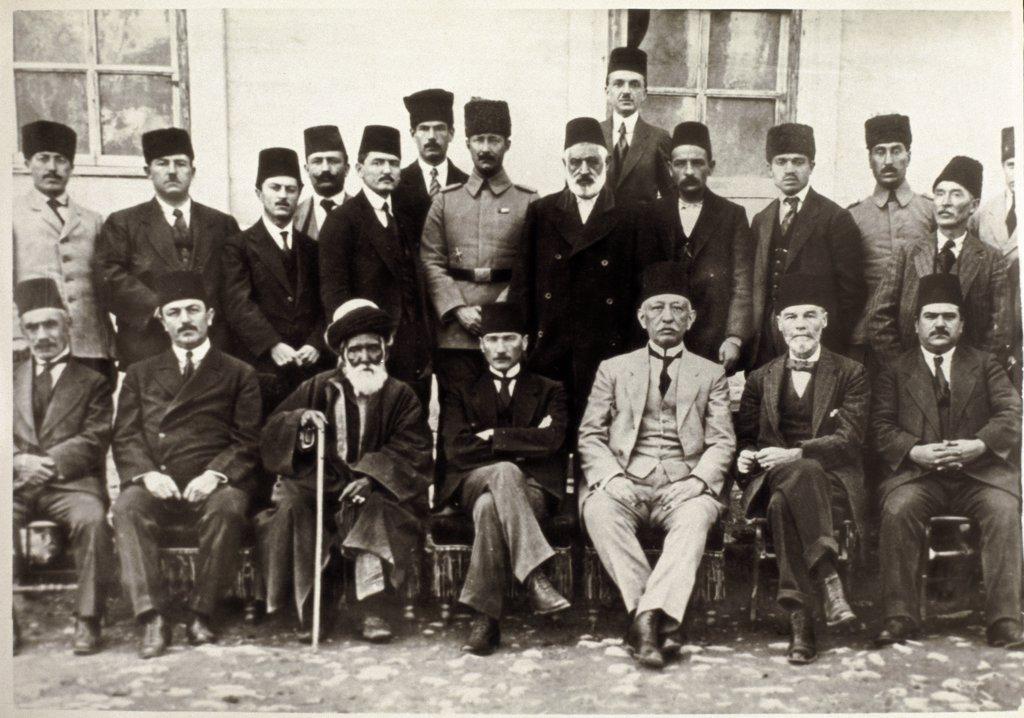 Future Turkish President Mustafa Kemal Ataturk (1881-1938) at the Siva congress, 1919. Photography. Turkish Historical Society, Ankara, Turkey .  : Stock Photo