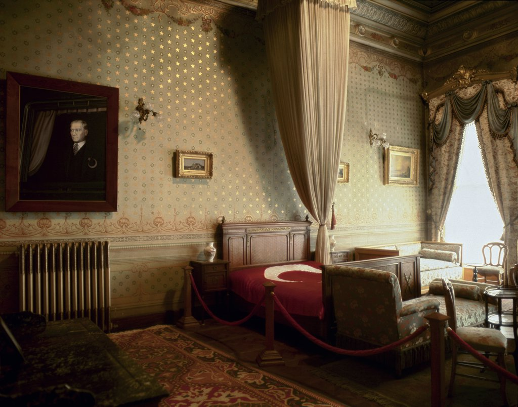 Stock Photo: 1899-43156 Mustafa Kemal Ataturk's bedroom at Dolmabahce Palace in Istanbul. Turkish Historical Society, Ankara, Turkey .