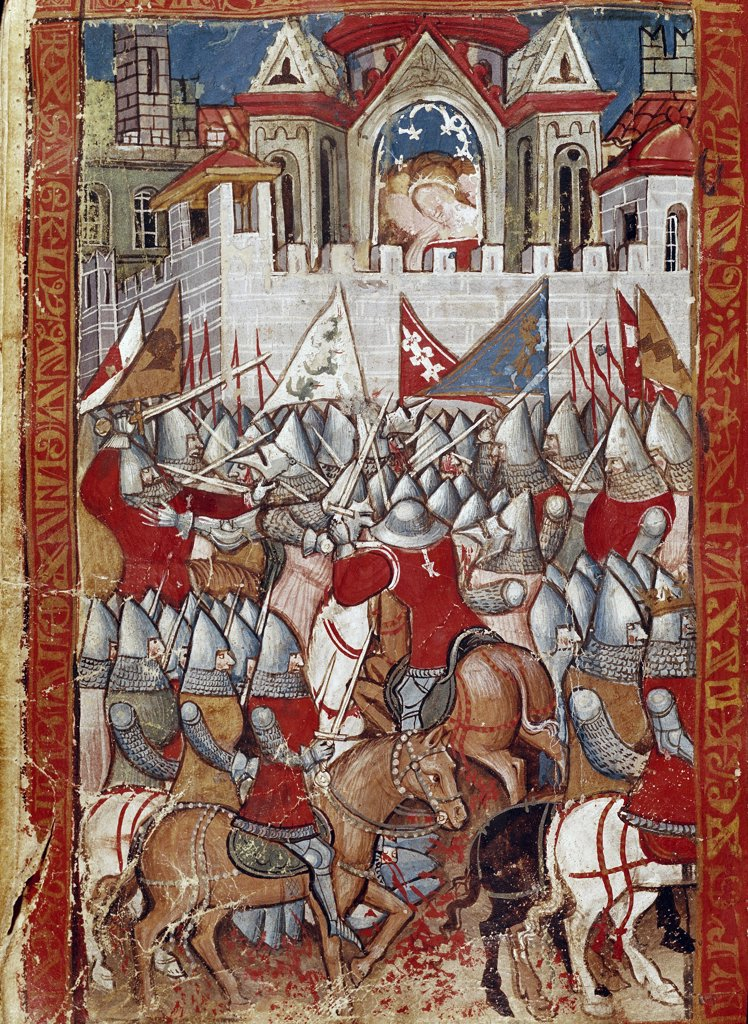 The Siege of Pampeluna. Miniature from the anonymous Franco-Venetian epic L'Entree d'Espagne (c.1320). Biblioteca Marciana, Venice, Italy.  : Stock Photo