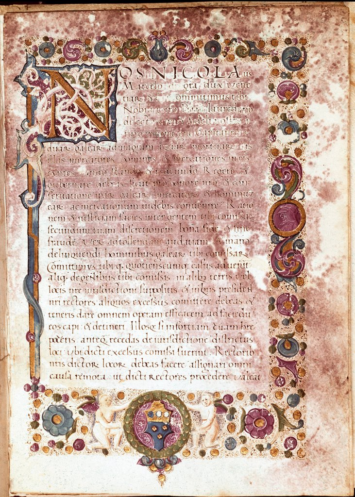 Stock Photo: 1899-43291 Oath of Investiture of Doge Niccolo (1399-1474). Illumination, 15th century. Museo Correr, Venice, Italy.