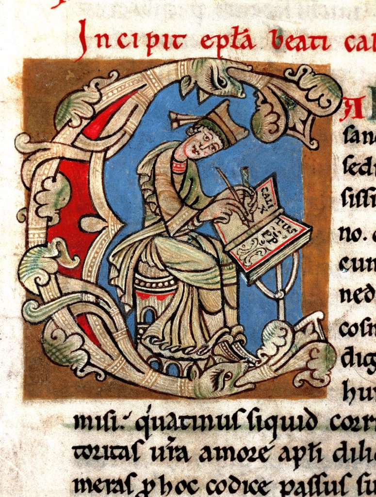 Stock Photo: 1899-43370 Ornate Letter C depicting the Pope Callixtus II Writing. Miniature from the Codex Calixtinus, 12th century. Archive-Library of the Cathedral of Santiago de Compostela, Spain.