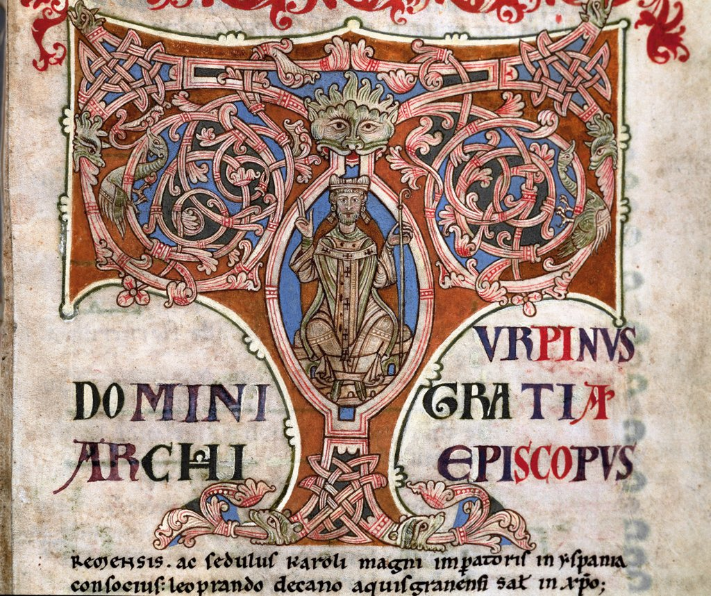 Stock Photo: 1899-43373 Ornate Letter T depicting Charlemagne. Miniature from the Codex Calixtinus, 12th century. Archive-Library of the Cathedral of Santiago de Compostela, Spain.