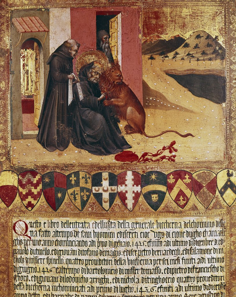 St Jerome and the Lion. Biccherna cover by Giovanni di Paolo (1403-1482). Oil on wood, 1436. Archivio di Stato, Siena, Italy.  : Stock Photo