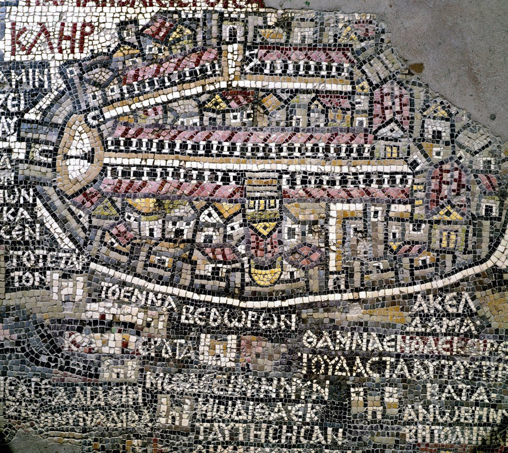 Jerusalem, Detail from the Madaba Mosaic Map. Byzantine Art. Mosaic, 6th century AD. Church of St George, Madaba, Jordan.  : Stock Photo
