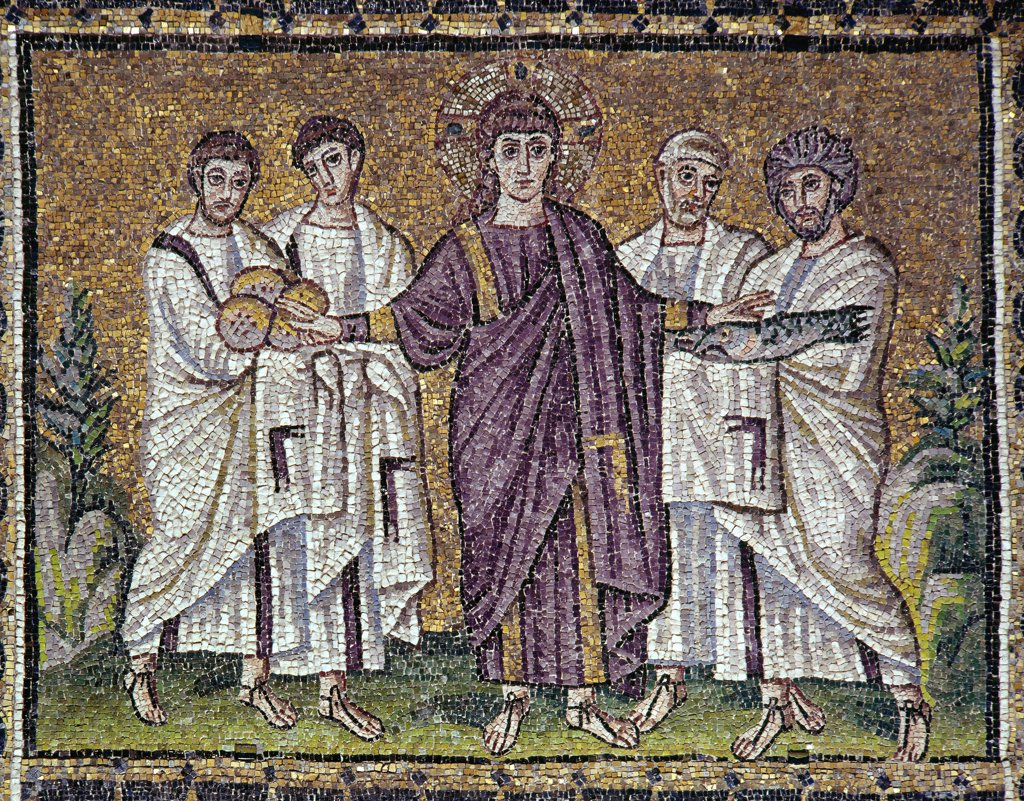 Stock Photo: 1899-43465 Multiplication of the Loaves and Fishes. Mosaic, 6th century. Byzantine Art. Basilica of Sant' Apollinare Nuovo, Ravenna, Italy.