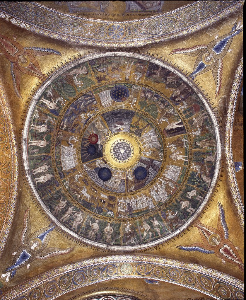Interior view of St Mark's Basilica (Basilica di San Marco), Venice. The dome of the Creation, mosaic, 1230. Byzantine-Romanesque Art. St Mark's Basilica, Venice, Italy.  : Stock Photo