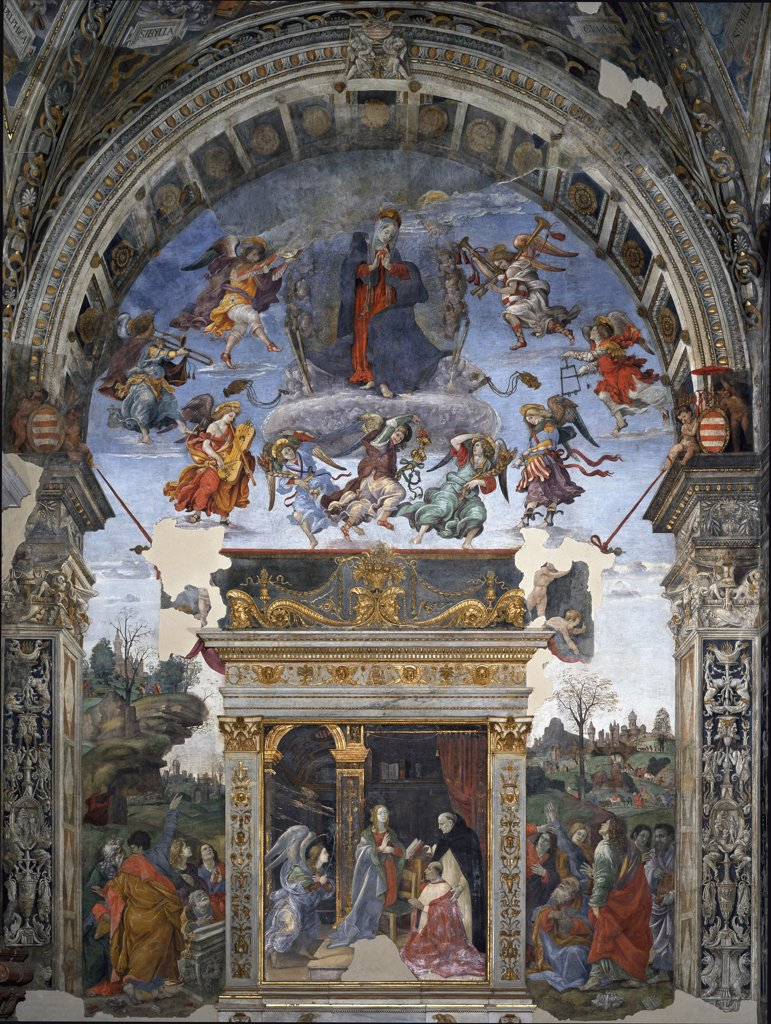 Stock Photo: 1899-43523 Assumption and Annunciation. By Filippino Lippi (1457-1504). Fresco, 1488-92. Santa Maria sopra Minerva, Carafa Chapel, Rome, Italy .