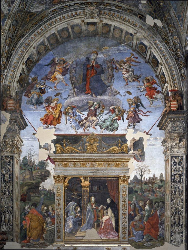 Assumption and Annunciation. By Filippino Lippi (1457-1504). Fresco, 1488-92. Santa Maria sopra Minerva, Carafa Chapel, Rome, Italy .  : Stock Photo