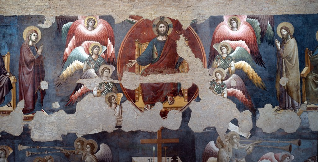 The Last Judgment, detail. By Pietro Cavallini (c.1250-c.1330). Fresco, c.1293. Church of Santa Cecilia in Trastevere, Rome, Italy .  : Stock Photo