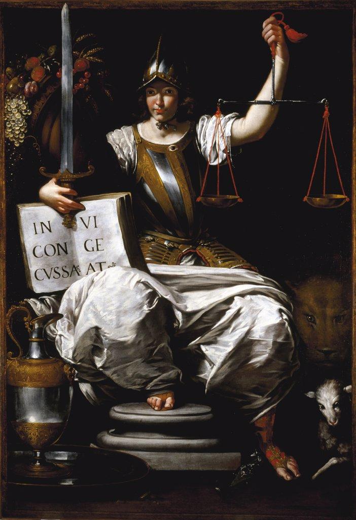 Stock Photo: 1899-43530 Allegory of Justice. By Giovanni Andrea de Ferrari (1598-1669). Galleria di Palazzo Bianco, Genoa, Italy .