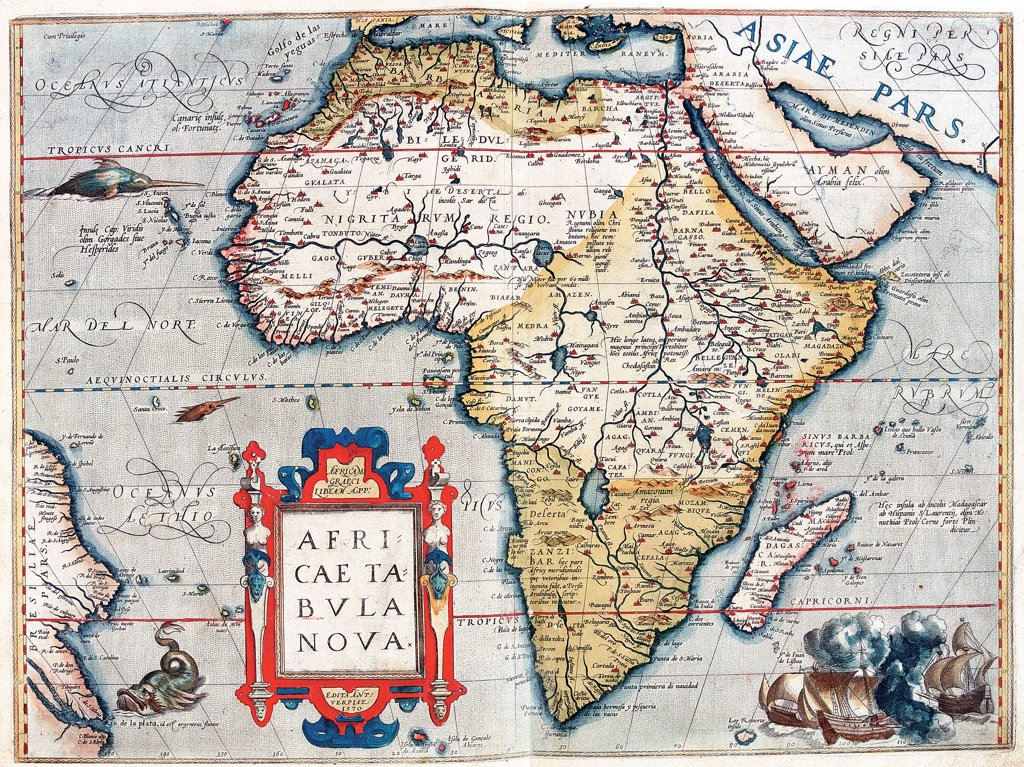 Map of Africa (Africae Tabula Nova). From the Theatrum Orbis Terrarum (Theatre of the World), by Abraham Ortelius (1527-1598), 1570. Museo Navale, Genoa, Italy .  : Stock Photo