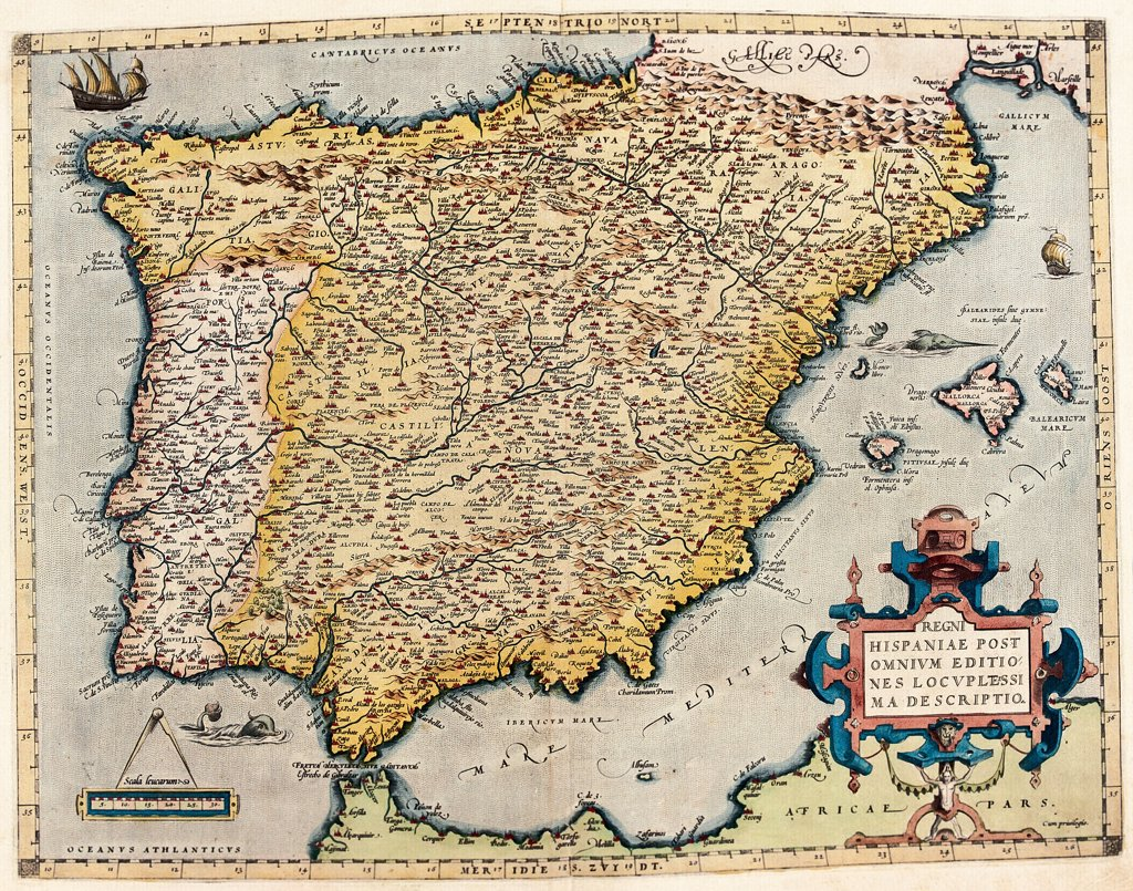 Map of Spain and Portugal (Regni Hispaniae Post Omnium Editiones). From the Theatrum Orbis Terrarum (Theatre of the World), by Abraham Ortelius (1527-1598), 1570. Museo Navale, Genoa, Italy .  : Stock Photo