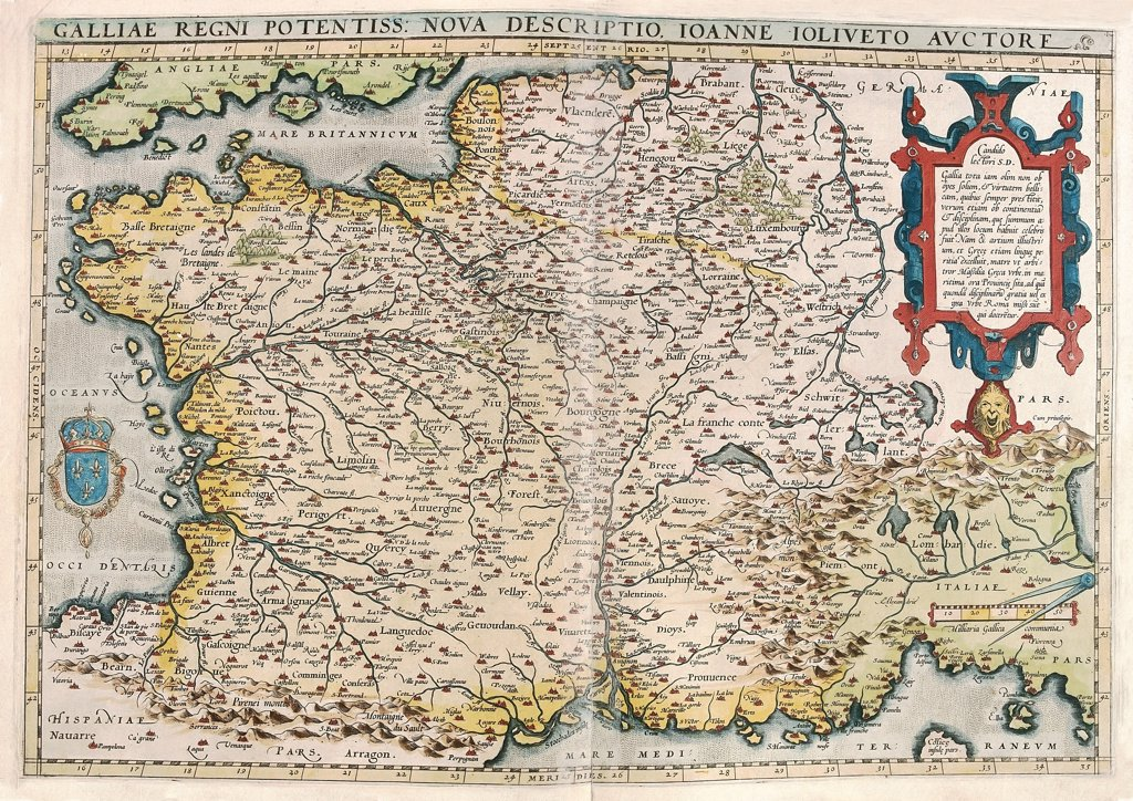 Stock Photo: 1899-43538 Map of France (Galliae regni potentiss: nova descriptio, Ioanne Ioliveto auctore) From the Theatrum Orbis Terrarum (Theatre of the World), by Abraham Ortelius (1527-1598), 1570. Museo Navale, Genoa, Italy .