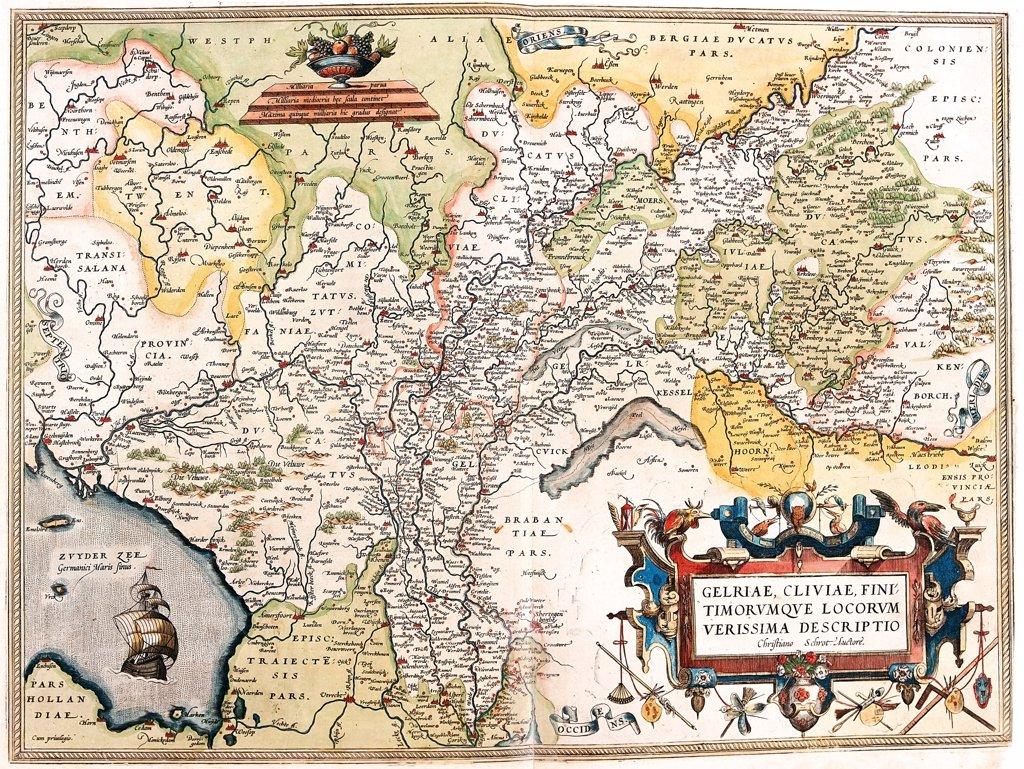 Stock Photo: 1899-43547 Map of the Netherlands (Gelriae, Cliviae, Finitimorum Que Locorum Verissima Descriptio Christiano Schrot Auctore). From the Theatrum Orbis Terrarum (Theatre of the World), by Abraham Ortelius (1527-1598), 1570. Museo Navale, Genoa, Italy .