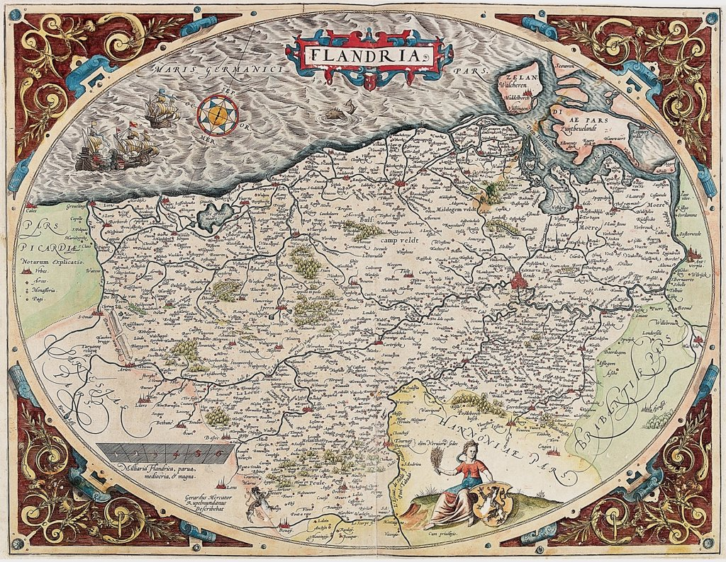 Stock Photo: 1899-43549 Map of Flanders (Flandria). From the Theatrum Orbis Terrarum (Theatre of the World), by Abraham Ortelius (1527-1598), 1570. Museo Navale, Genoa, Italy .