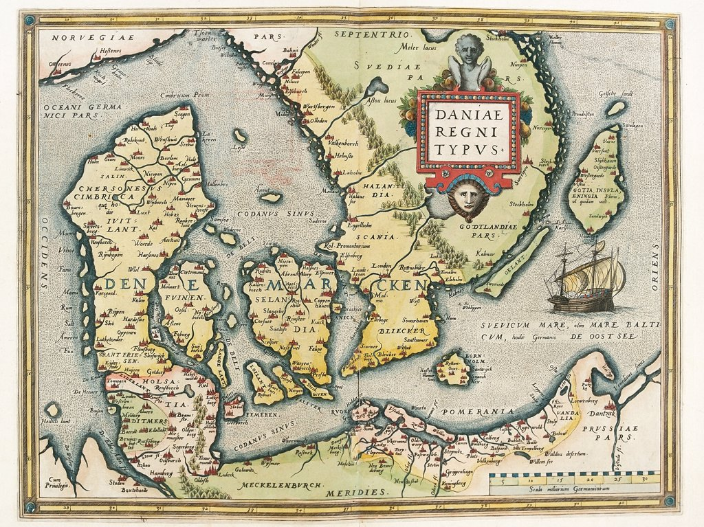 Map of Denmark (Daniae regni Typus). From the Theatrum Orbis Terrarum (Theatre of the World), by Abraham Ortelius (1527-1598), 1570. Museo Navale, Genoa, Italy .  : Stock Photo