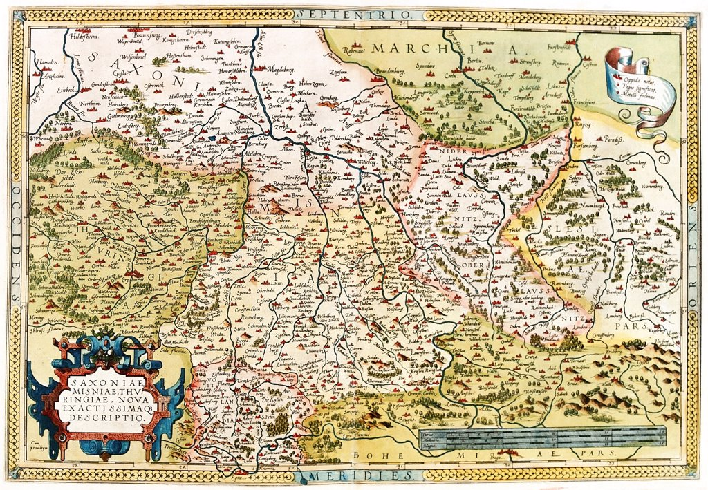Stock Photo: 1899-43555 Regional Map of Germany, extending from Prague to Berlin and Brandenberg, and from Mulhausen and Erpach to Goltberg, Sagan, Furstenberg, Leipzig and Frankfurt am Oder (Saxoniae, Misniae, Thuringiae, Nova Exactissimaque Descriptio). . From the Theatrum Orbis Terrarum (Theatre of the World), by Abraham Ortelius (1527-1598), 1570. Museo Navale, Genoa, Italy