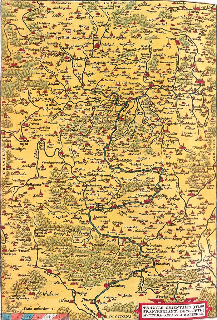 Stock Photo: 1899-43556 Regional Map of Germany (Franciae Orientalis (Vulgo/Franckenlant) Descriptio, Auctore, Sebast. A. Rotenhan). From the Theatrum Orbis Terrarum (Theatre of the World), by Abraham Ortelius (1527-1598), 1570. Museo Navale, Genoa, Italy .