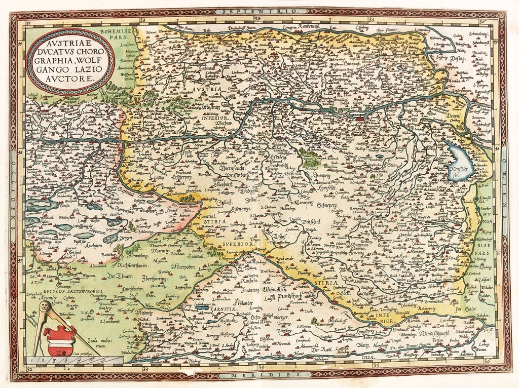 Map of of Austria and Hungary (Austriae Ducatus Chorographia Wolfgango Lazio Auctore). From the Theatrum Orbis Terrarum (Theatre of the World), by Abraham Ortelius (1527-1598), 1570. Museo Navale, Genoa, Italy .  : Stock Photo