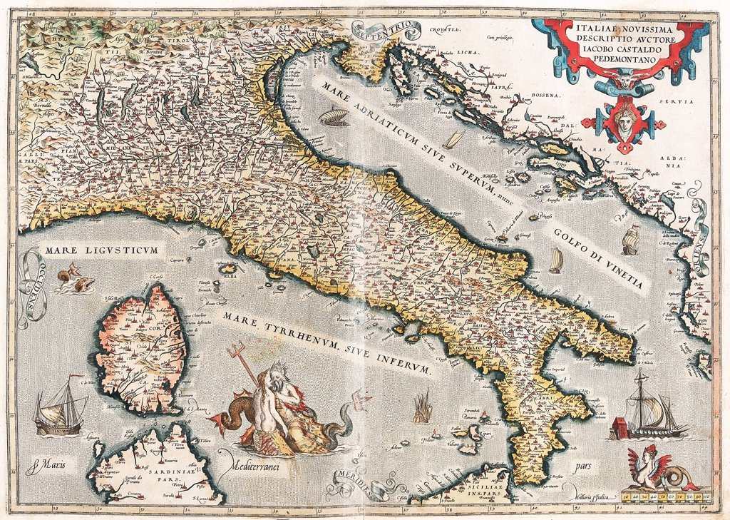 Map of Italy (Italiae novissima descriptio auctore Iacobo Castaldo Pedemontano). From the Theatrum Orbis Terrarum (Theatre of the World), by Abraham Ortelius (1527-1598), 1570. Museo Navale, Genoa, Italy .  : Stock Photo