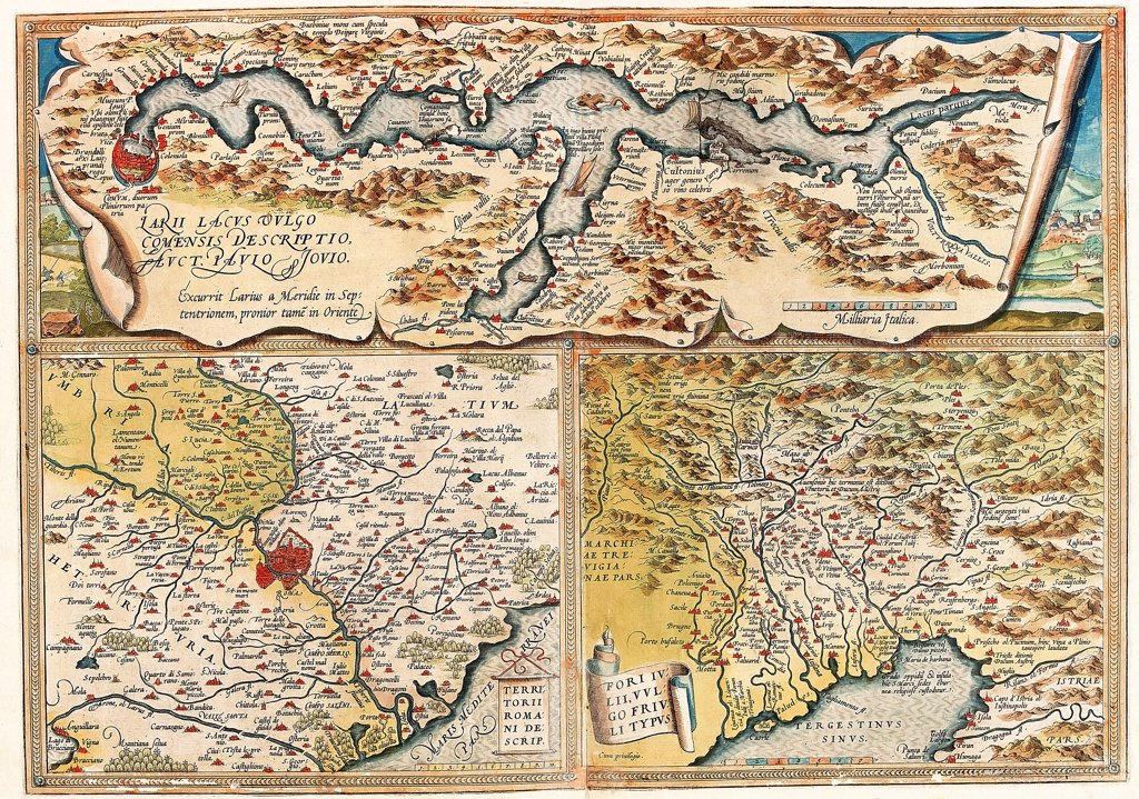 Stock Photo: 1899-43568 Map of Northern Italy (Larii Lacus Vulgo ... - Terrtorii Romani ... - Fori Iulii ... ). From the Theatrum Orbis Terrarum (Theatre of the World), by Abraham Ortelius (1527-1598), 1570. Museo Navale, Genoa, Italy .