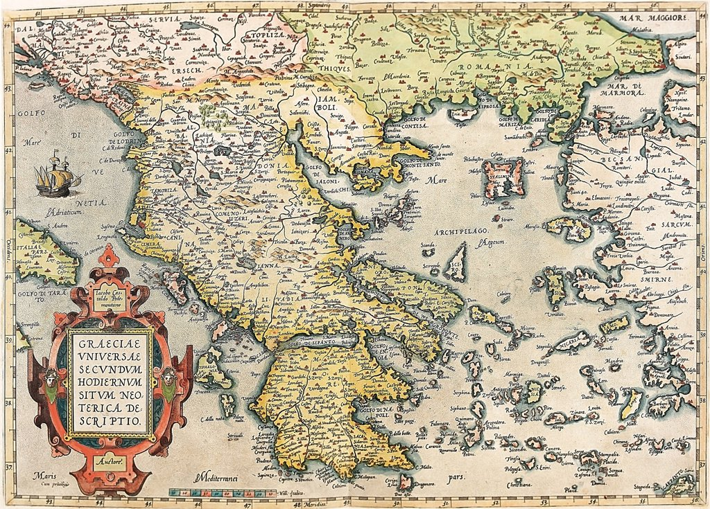 Stock Photo: 1899-43573 Map of Greece. (Graeciae Universae Secundum Hodiernum Neoterica Descriptio). From the Theatrum Orbis Terrarum (Theatre of the World), by Abraham Ortelius (1527-1598), 1570. Museo Navale, Genoa, Italy .