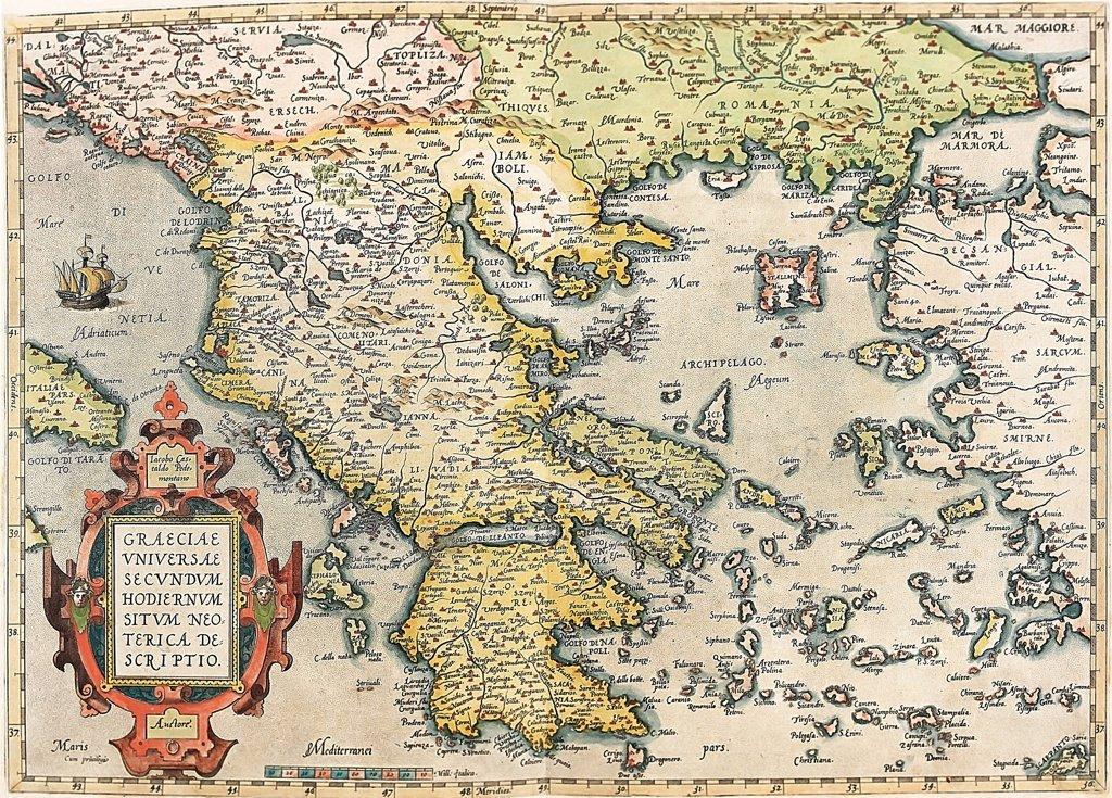 Map of Greece. (Graeciae Universae Secundum Hodiernum Neoterica Descriptio). From the Theatrum Orbis Terrarum (Theatre of the World), by Abraham Ortelius (1527-1598), 1570. Museo Navale, Genoa, Italy .  : Stock Photo
