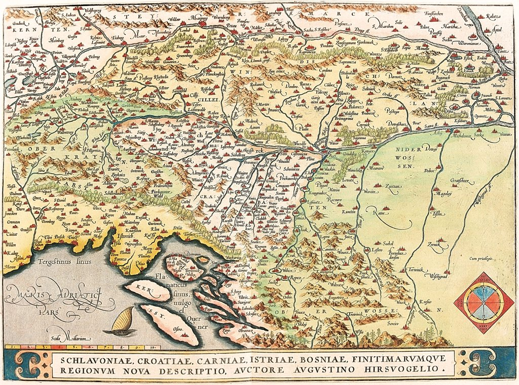 Stock Photo: 1899-43574 Map of Slavonia, Croatia, Bosnia and Dalmatia (Schlavoniae, Croatiae, Carniae, Istriae, Bosniae, Finitimarumque Regionum Nova Descriptio, Auctore Augustino Hirsuogelio). . From the Theatrum Orbis Terrarum (Theatre of the World), by Abraham Ortelius (1527-1598), 1570. Museo Navale, Genoa, Italy