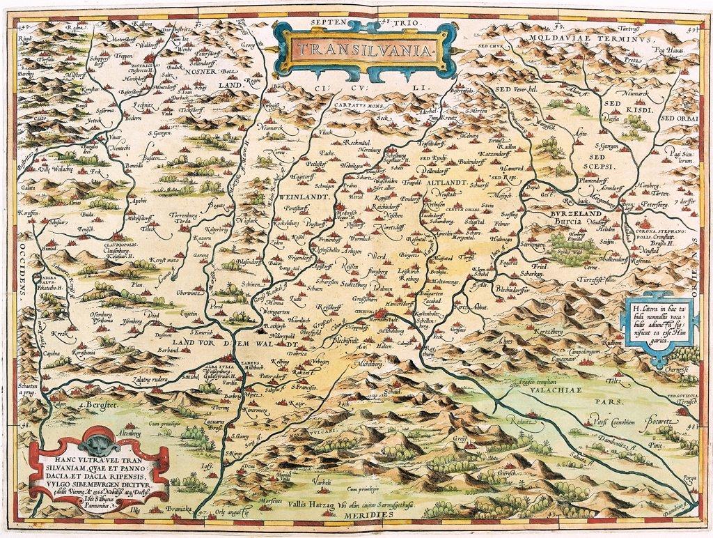 Stock Photo: 1899-43576 Map of Transilvania (Transilvania). From the Theatrum Orbis Terrarum (Theatre of the World), by Abraham Ortelius (1527-1598), 1570. Museo Navale, Genoa, Italy .