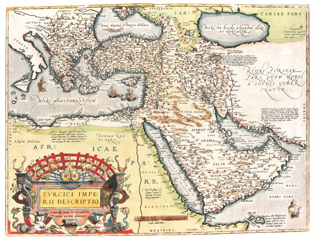 Map of the Ottoman Empire (Turcici imperii descriptio). From the Theatrum Orbis Terrarum (Theatre of the World), by Abraham Ortelius (1527-1598), 1570. Museo Navale, Genoa, Italy .  : Stock Photo