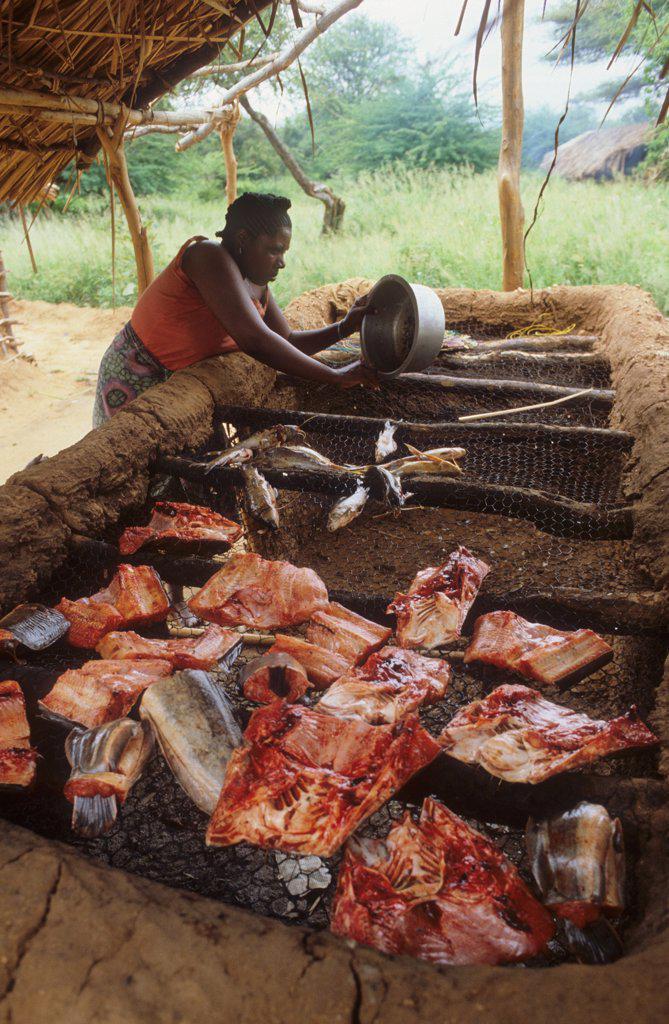 SMOKING FISH, TANZANIA. .  : Stock Photo