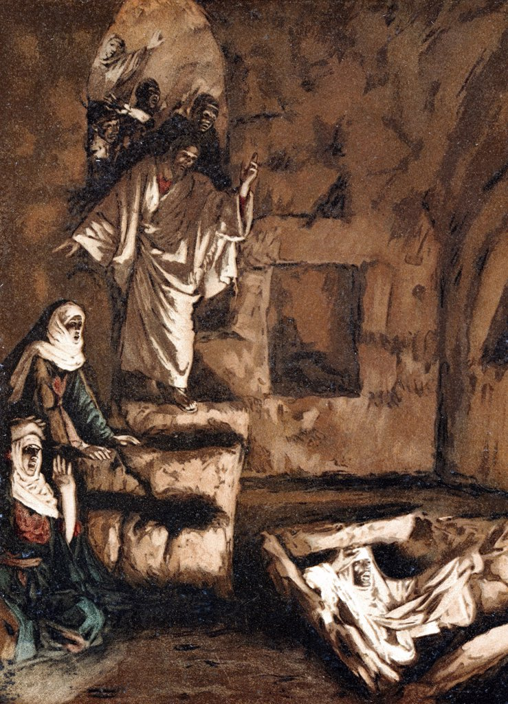 Jesus raising Lazarus from the tomb. Illustration by JJ Tissot for his Life of Our Saviour Jesus Christ 1897. Oleograph : Stock Photo