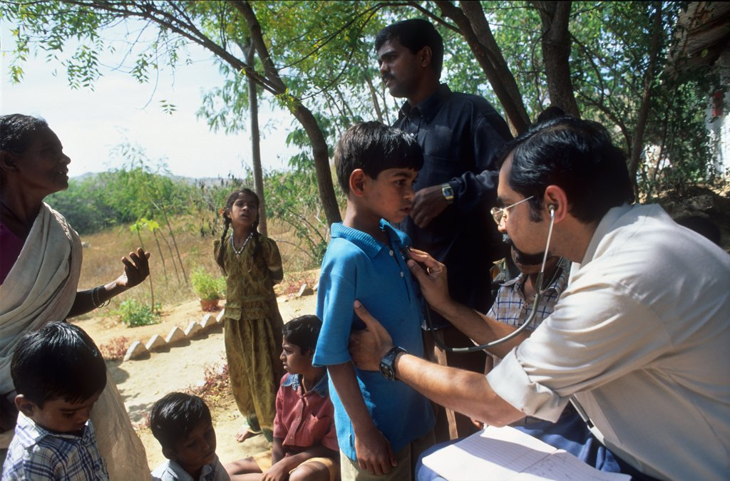 Stock Photo: 1899-44364 HEALTH, INDIA. Andhra Pradesh, Rishi Valley. Centre for New Education. Survey into childrens health & nutrition. .
