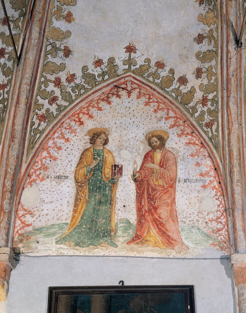 Saints, by Unknown artist, 15th Century, fresco. Italy: Lombardy: Cremona: Santa Maria Maddalena church. Detail of the apsidal conch Saints yellow red green white halo/aureole : Stock Photo