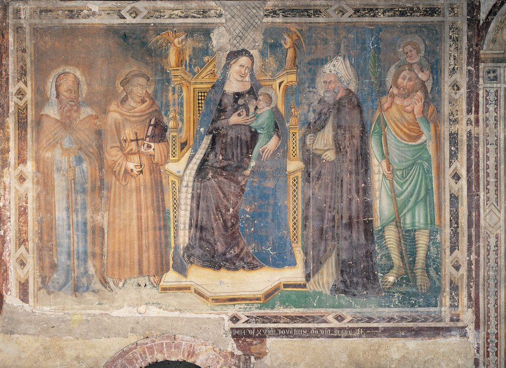 Madonna with St Anthony, St Francis, S Bonaventura (?) and St Christopher, by Master of Feltre, 14th Century, fresco. Italy: Veneto: Treviso: San Francesco church: Rinaldi Chapel. Whole artwork. Madonna with St Anthony, St Francis, probably St Bonaventura and St Jesus Christopher throne blue garment/dress : Stock Photo