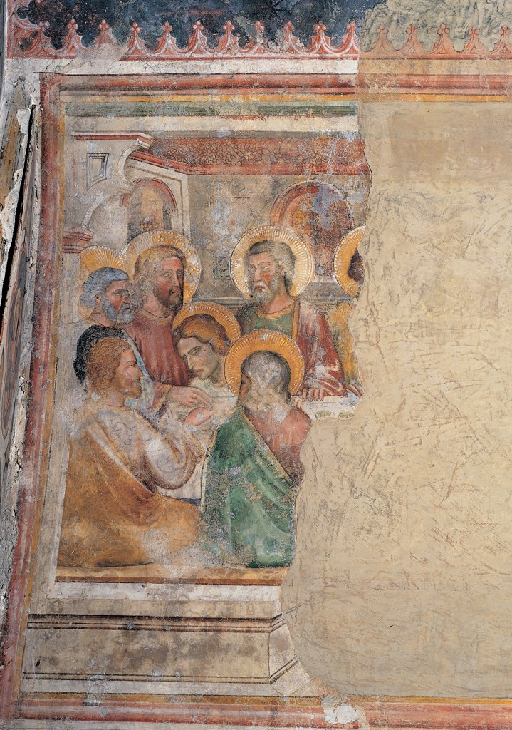 The Passion of the Christ, by Master of the Forzate chapel in Padua, 14th Century, fresco. Italy: Veneto: Treviso: Santa Lucia church. Detail with the Last Supper aureole/halo yellow red green : Stock Photo